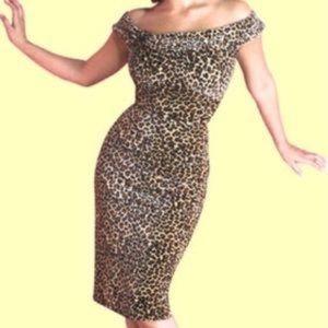 Stop Staring! Velvet Leopard Wiggle Dress